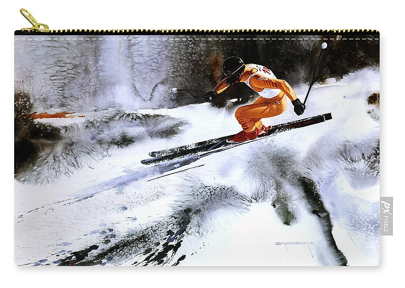 Olympic Skiing Carry-all Pouch featuring the painting A Fine Line by Dale Cooper