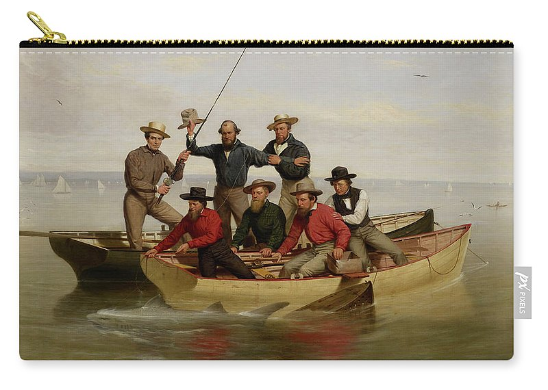 Founding Fathers Carry-all Pouch featuring the painting A Fishing Party Off Long Island Metal by Junius Brutus Stearns