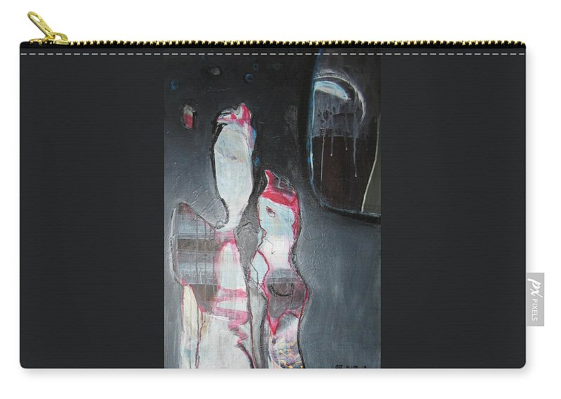 Abstract Paintings Carry-all Pouch featuring the painting A Flase Rumor by Seon-Jeong Kim