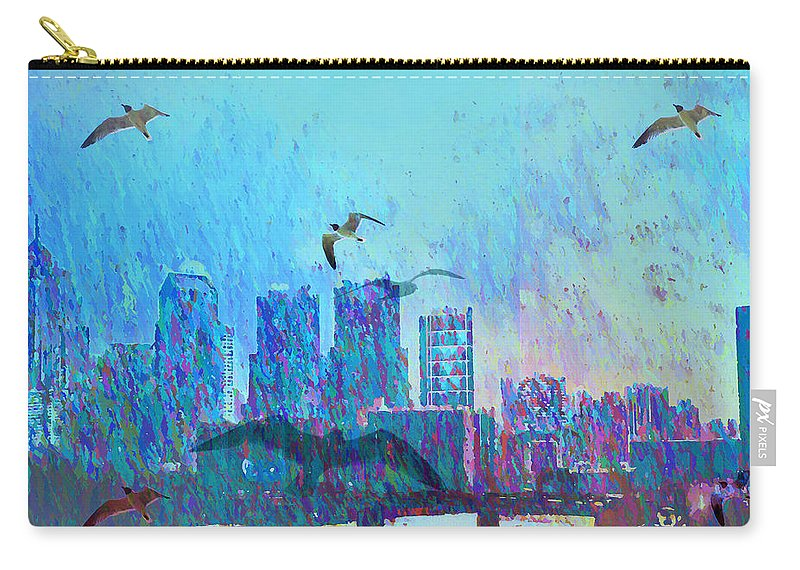 Seagulls Carry-all Pouch featuring the photograph A Flock Of Seagulls by Bill Cannon