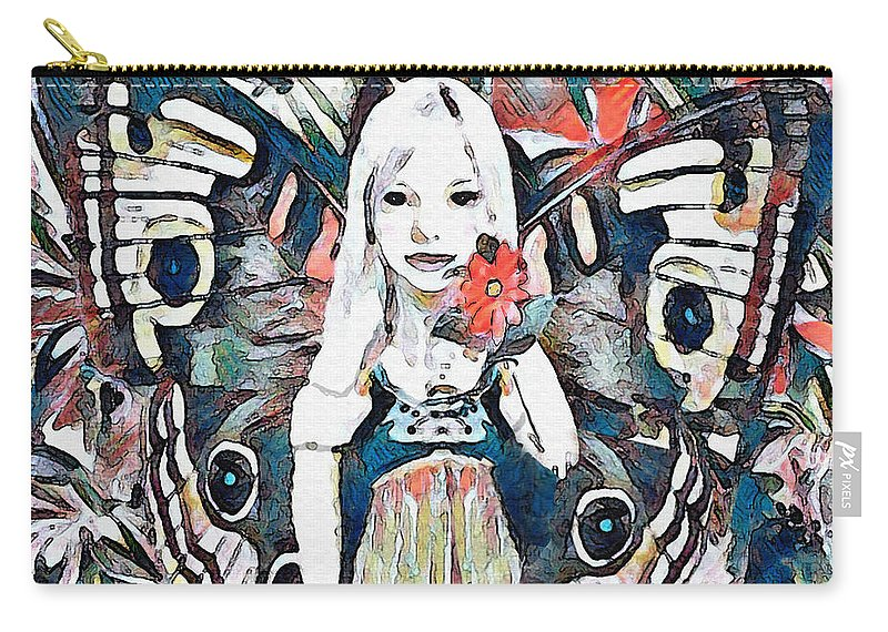 Butterfly Carry-all Pouch featuring the mixed media A Flower For You by Amelia Carrie