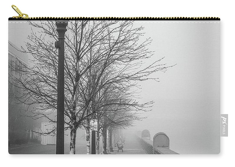 B&w Carry-all Pouch featuring the photograph A Foggy Walkway by Ron Vollentine