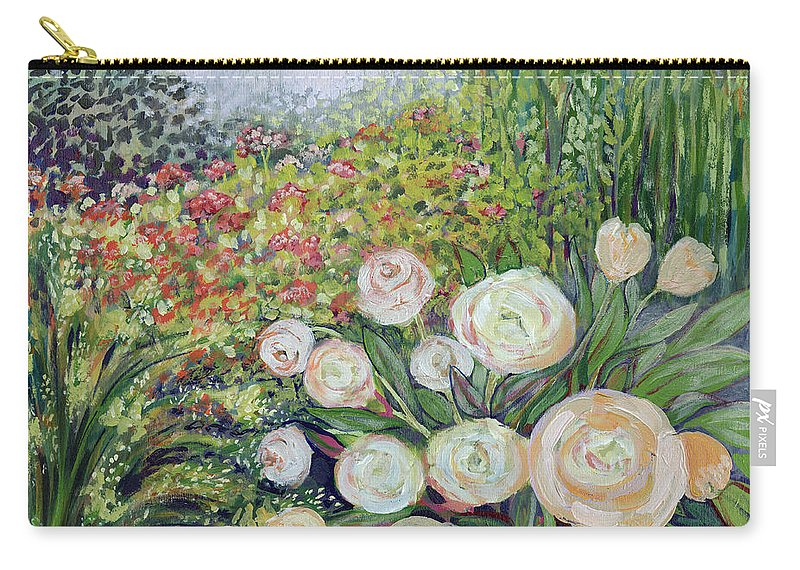 Impressionist Carry-all Pouch featuring the painting A Garden Romance by Jennifer Lommers