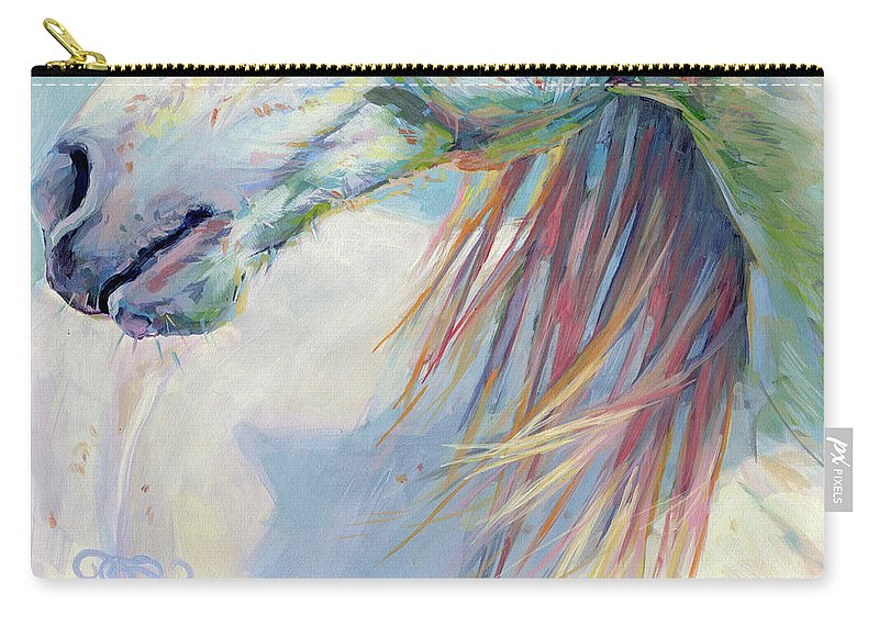 Pony Carry-all Pouch featuring the painting A Gentle Breeze by Kimberly Santini