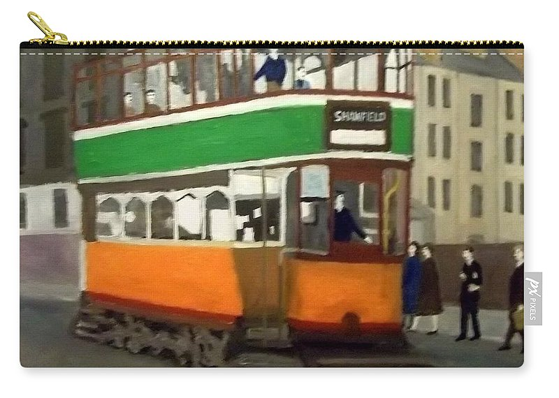 Glasgow Tram Carry-all Pouch featuring the painting A Glasgow Tram With Figures And Tenement by Peter Gartner