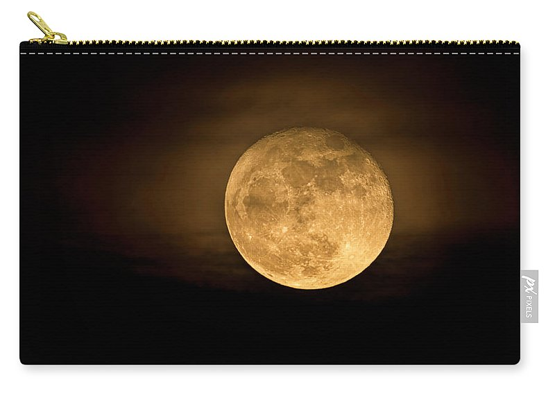 Super Moon 2016 Carry-all Pouch featuring the photograph A Golden Super Moon On The Rise by Saija Lehtonen