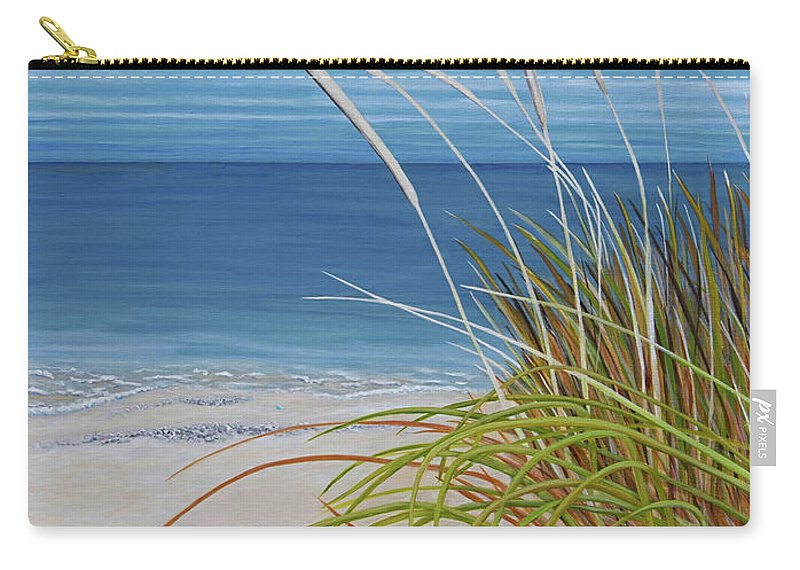 Beach Carry-all Pouch featuring the painting A Good Day For Beachcombing by Barbara McMahon