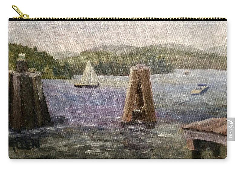 Boats Carry-all Pouch featuring the painting A Good Day for Boating by Sharon E Allen