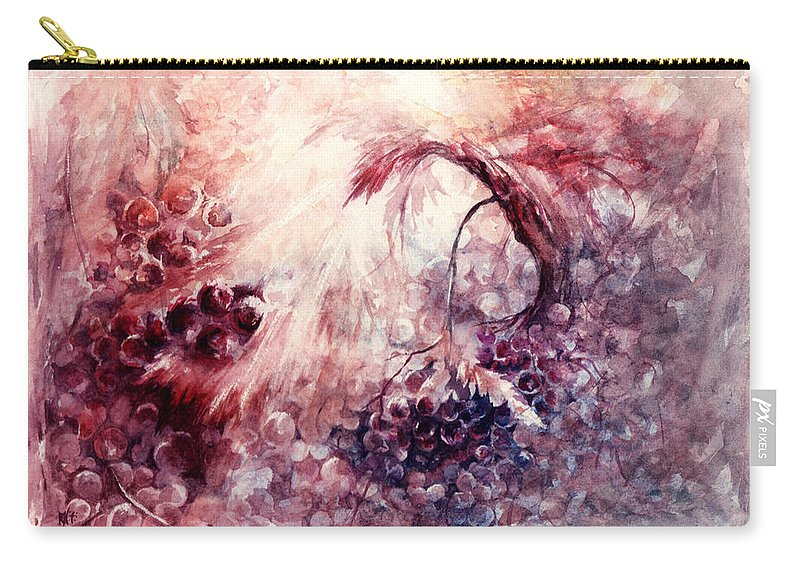 Grapes Carry-all Pouch featuring the painting A Grape Fairy Tale by Rachel Christine Nowicki