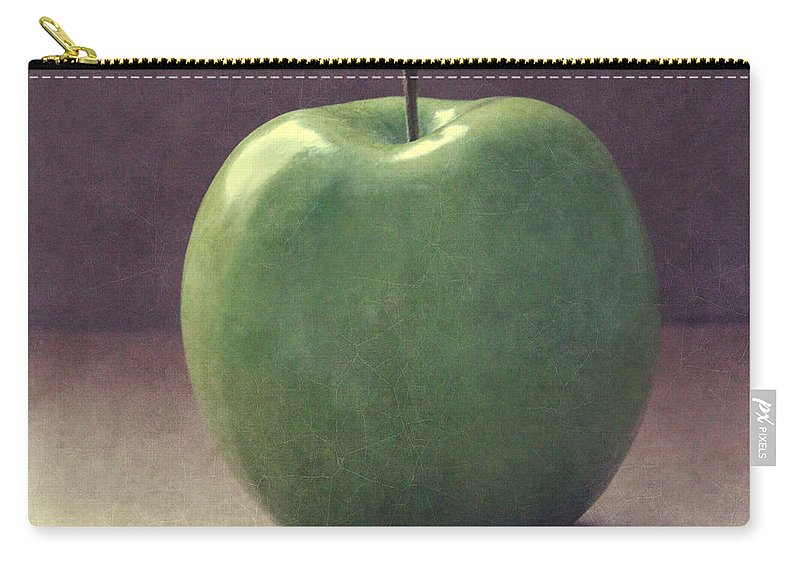 Apple Carry-all Pouch featuring the photograph A Green Apple- Art By Linda Woods by Linda Woods