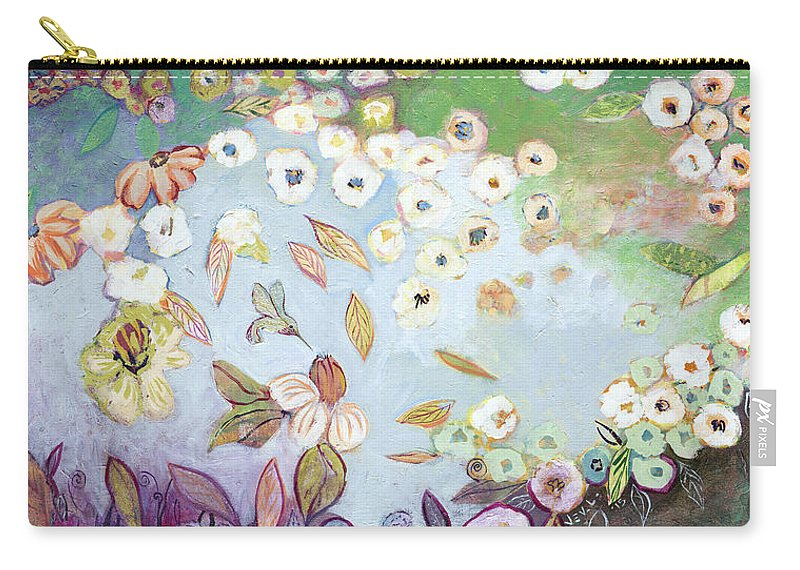 Hummingbird Carry-all Pouch featuring the painting A Hidden Lagoon by Jennifer Lommers