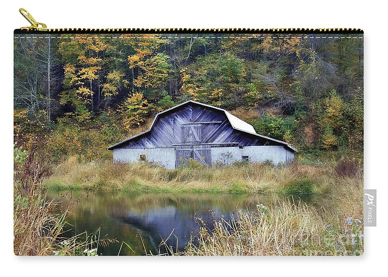 Barn And Pond Carry-all Pouch featuring the photograph A Is For Autumn by Benanne Stiens
