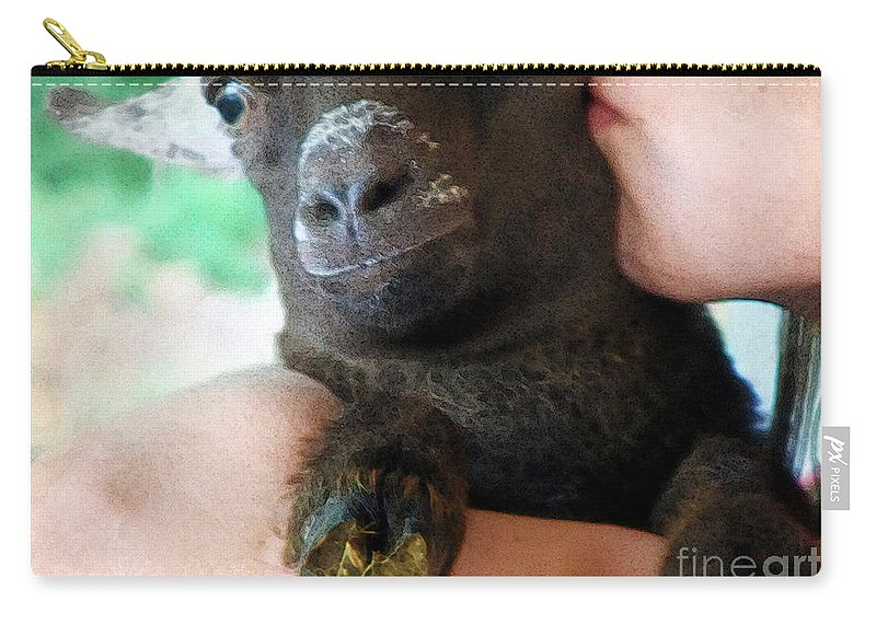 Girl Carry-all Pouch featuring the painting A Kiss For The Kid by RC deWinter