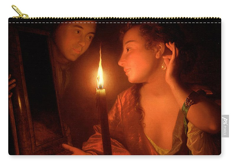 Lady Carry-all Pouch featuring the painting A Lady Admiring An Earring By Candlelight by Godfried Schalcken