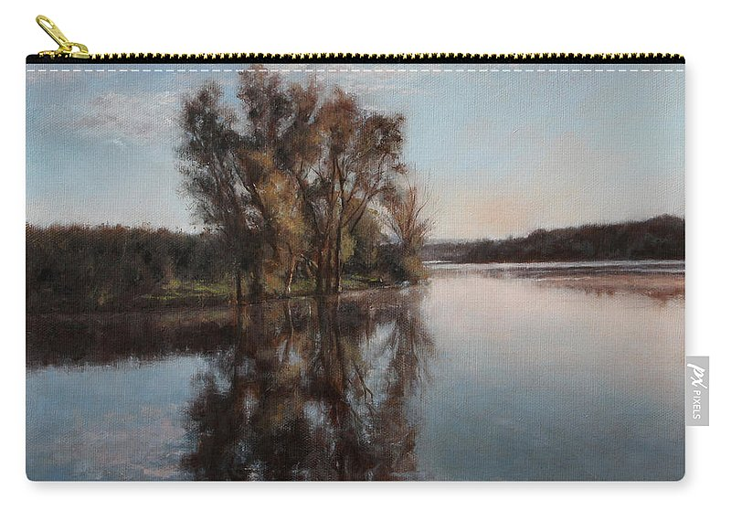 Realism Carry-all Pouch featuring the painting A Lake by Darko Topalski