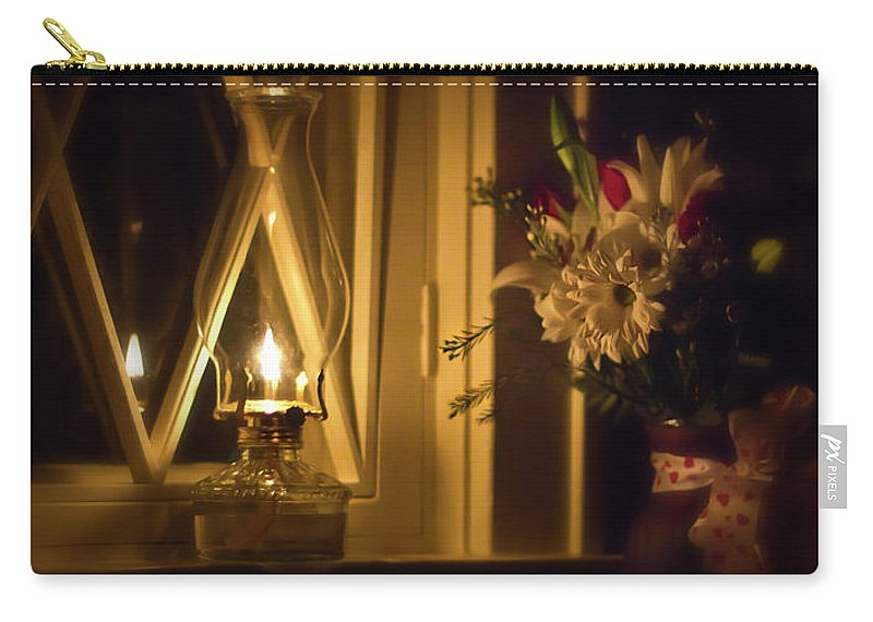 Oil Lamp Carry-all Pouch featuring the photograph A Lamp In The Window For My Love by Straublund Photography