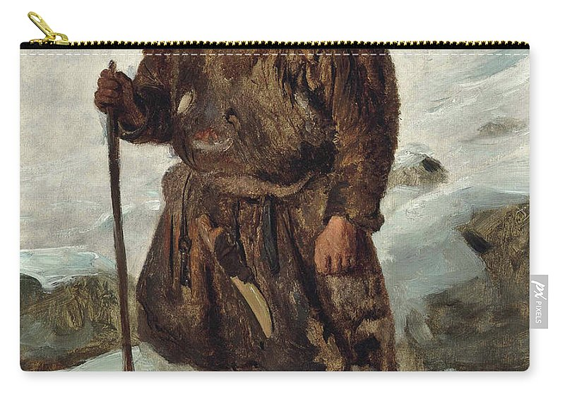 Francois-auguste Biard Carry-all Pouch featuring the painting A Laplander by Francois-Auguste Biard