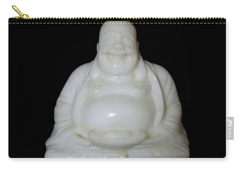 Mary Deal Carry-all Pouch featuring the photograph A Laughing Buddha Brings Good Luck by Mary Deal