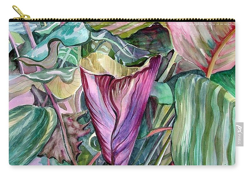 Garden Carry-all Pouch featuring the painting A Light In The Garden by Mindy Newman