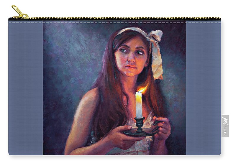 Pastel Carry-all Pouch featuring the painting A Light Unto My Path by Jean Hildebrant