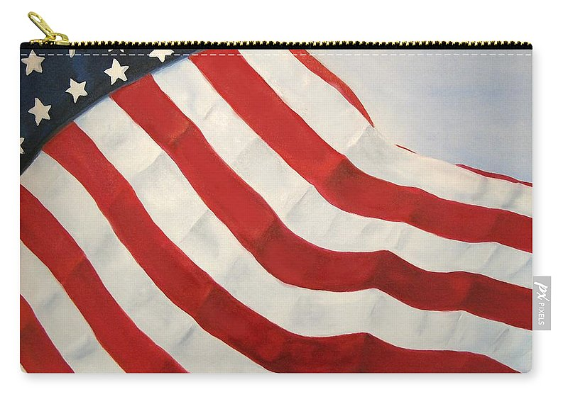 Flag Carry-all Pouch featuring the painting A Little Glory by Carol Sweetwood