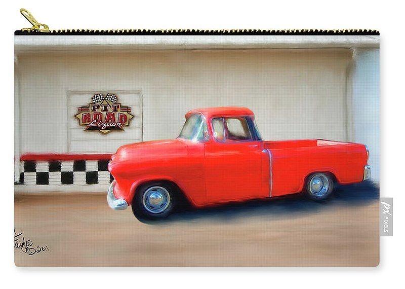 Paintings Of Cars Carry-all Pouch featuring the painting A Lot Of Fire A Little Ice by Colleen Taylor
