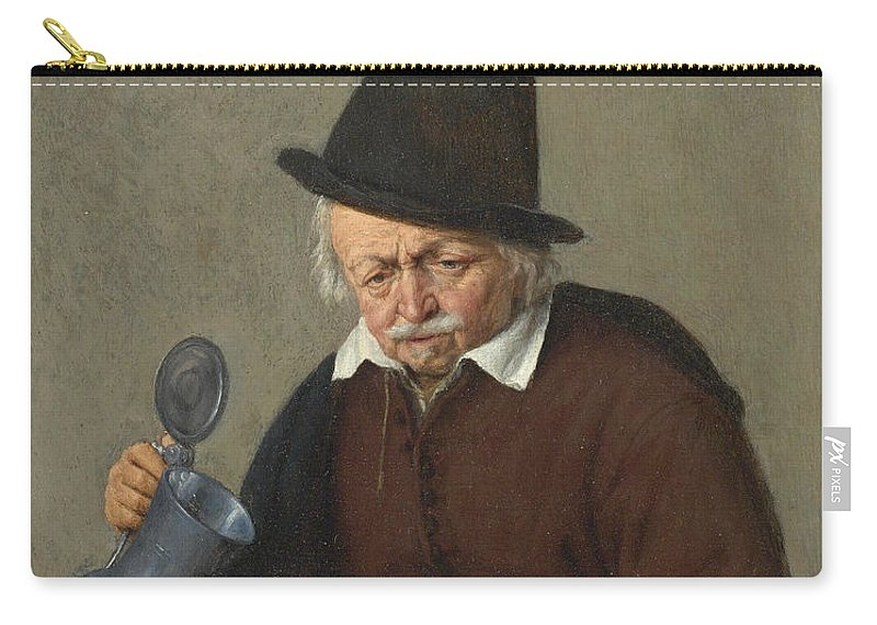 Adriaen Van Ostade Carry-all Pouch featuring the painting A Man Holding A Tankard And A Glass by Adriaen van Ostade