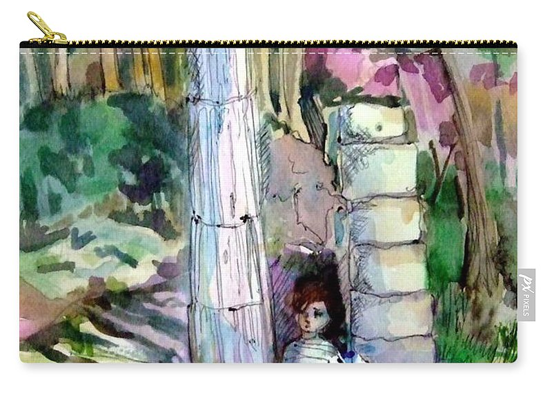Watercolor Carry-all Pouch featuring the painting A Man In Ruins by Mindy Newman