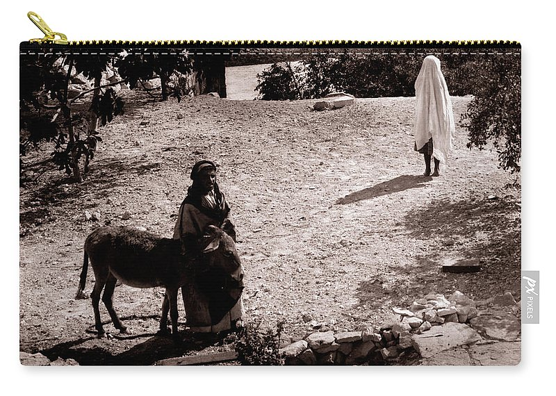 Woman Carry-all Pouch featuring the photograph A Man With His Bride 1900s by Munir Alawi