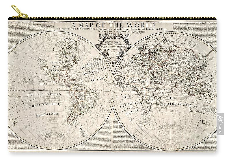 Map Carry-all Pouch featuring the painting A Map of the World by John Senex