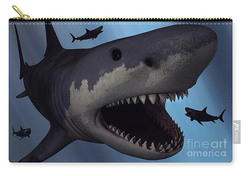 6a83395a94 Carcharodon Carry-all Pouch featuring the digital art A Megalodon Shark  From The Cenozoic Era