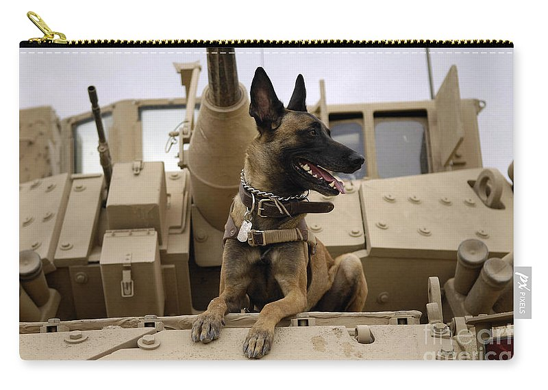 Color Image Carry-all Pouch featuring the photograph A Military Working Dog Sits On A U.s by Stocktrek Images