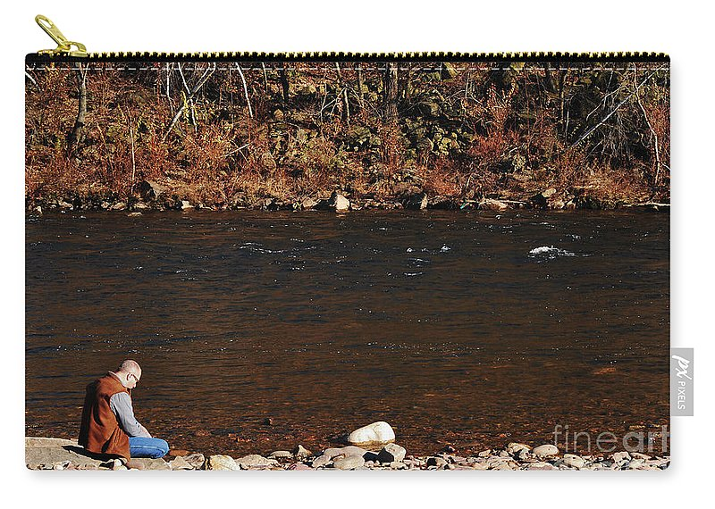 Person Carry-all Pouch featuring the photograph A Moment By The Water by Lori Tambakis