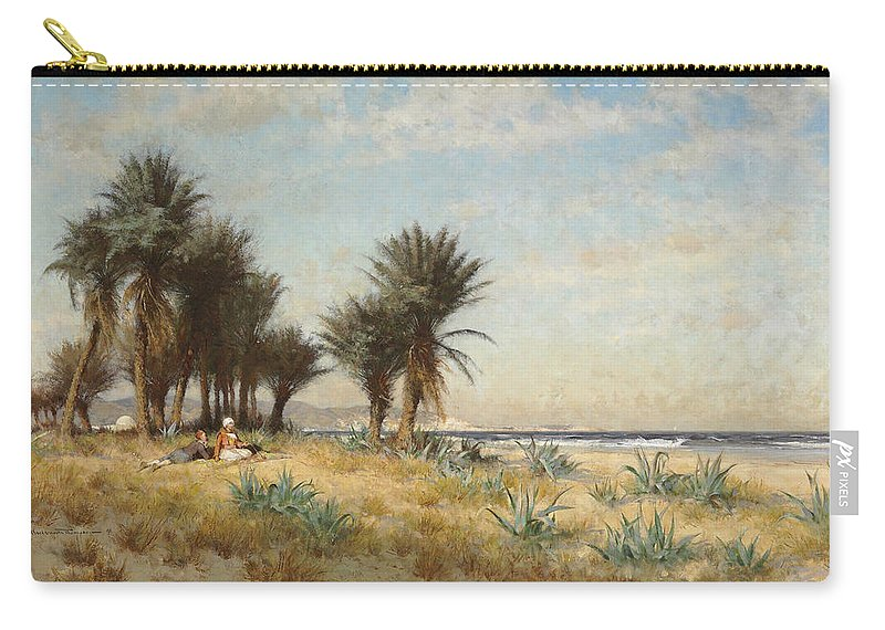 Alfred Wordsworth Thompson Carry-all Pouch featuring the painting A Moroccan Coastal Scene by Alfred Wordsworth Thompson