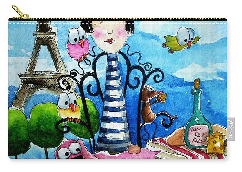 Stressie Cat And Friends Parisian Scene Paris French France Carry-all Pouch featuring the painting A Moveable Feast by Lucia Stewart