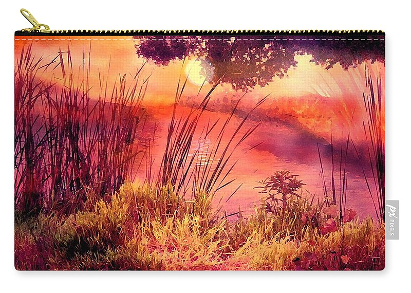 Landscape Carry-all Pouch featuring the mixed media A New Day by Robin Monroe