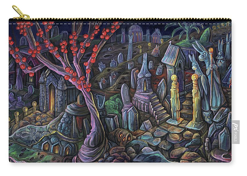 Bunny Carry-all Pouch featuring the digital art A Night In A Bunny Cemetery by Clown Coffins