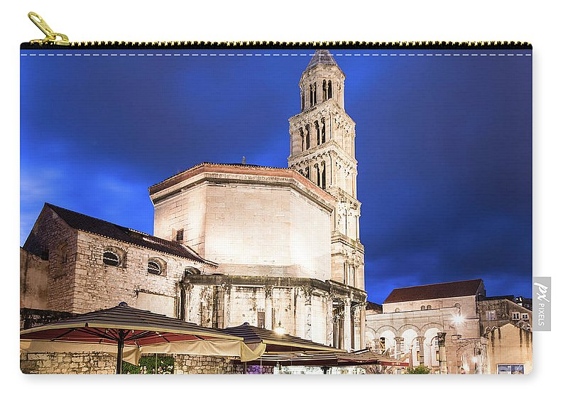 Balkans Carry-all Pouch featuring the photograph A Night View Of The Cathedral Of Saint Domnius In Split by Didier Marti