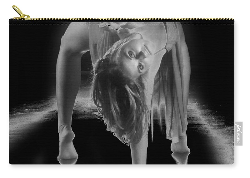 B&w Carry-all Pouch featuring the photograph A Painful Pose by Frederic A Reinecke