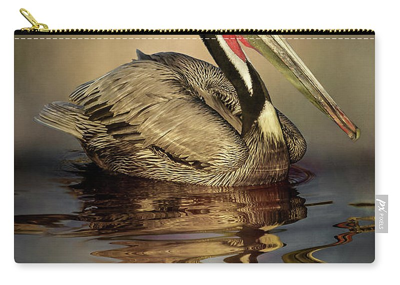 California Carry-all Pouch featuring the digital art A Pelican And His Reflection by Stevie Benintende