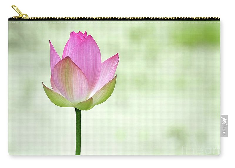 Lotus Carry-all Pouch featuring the photograph A Pink Lotus by Sabrina L Ryan