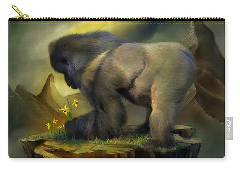 Silverback Gorilla Carry-all Pouch featuring the mixed media A Place To Grow by Carol Cavalaris