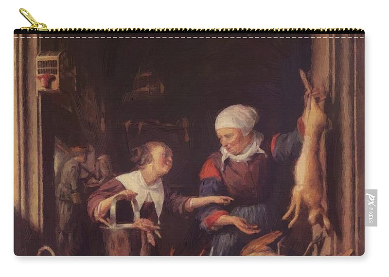 A Carry-all Pouch featuring the painting A Poulterer Shop by Dou Gerrit