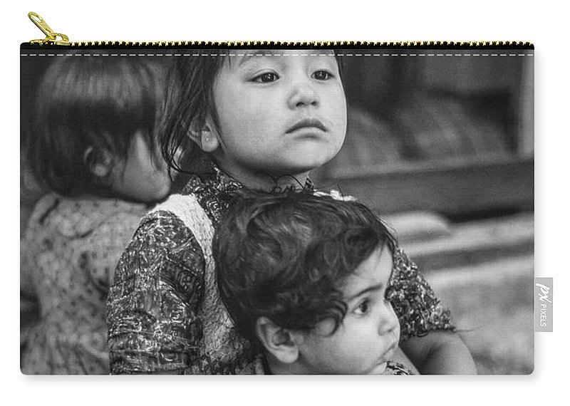 Kids Carry-all Pouch featuring the photograph A Proud Sister Bw by Steve Harrington