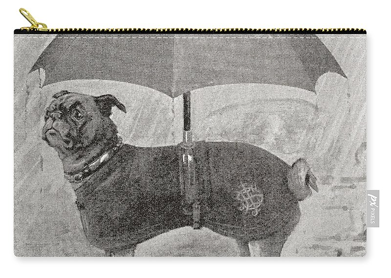 Welsh Carry-all Pouch featuring the drawing A Pug Wearing Boots, Coat And Umbrella by Vintage Design Pics