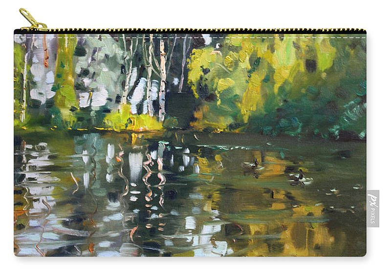 Landscape Carry-all Pouch featuring the painting A Quiet Afternoon Reflection by Ylli Haruni