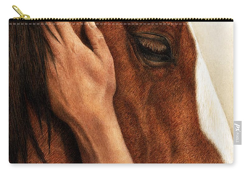 Equine Carry-all Pouch featuring the painting A Quiet Moment by Pat Erickson