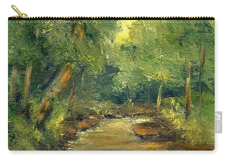 Creek Carry-all Pouch featuring the painting A Quiet Place by Gail Kirtz