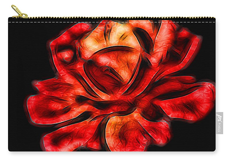 Red Carry-all Pouch featuring the photograph A Red Rose For You 2 by Mariola Bitner