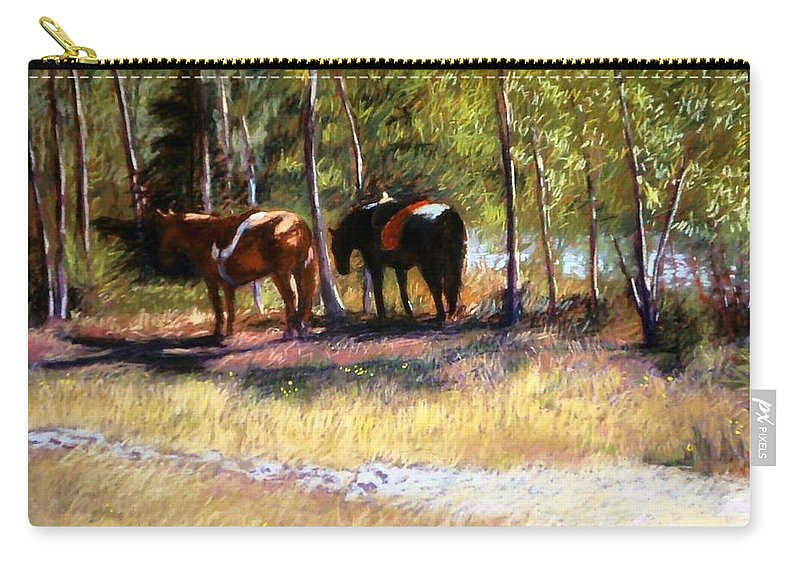 Pastel Carry-all Pouch featuring the painting A Rest By The River by Mary McInnis